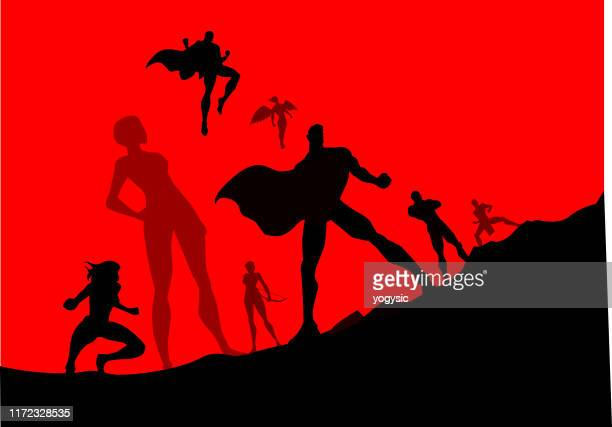 vector superhero team silhouette illustration - heroes stock illustrations