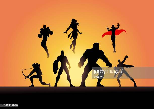 vector superhero team silhouette in action - heroes stock illustrations