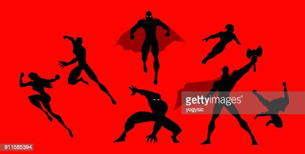 Vector Superhero Team Silhouette in Action