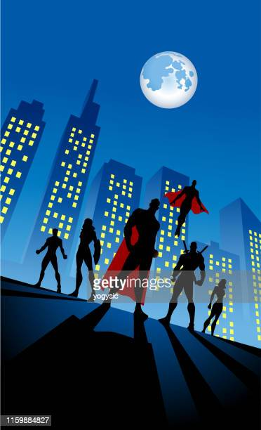 vector superhero team silhouette in city background at night - cape garment stock illustrations