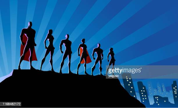 vector superhero team silhouette in the city stock illustration - superhero stock illustrations