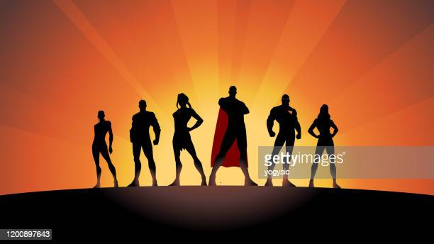 vector superhero team silhouette stock illustration - heroes stock illustrations