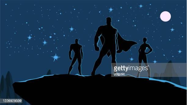 vector superhero team silhouette stock illustration - three people stock illustrations
