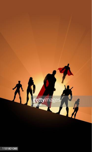 vector superhero team silhouette tilted view with sunlight in the background - adults only stock illustrations