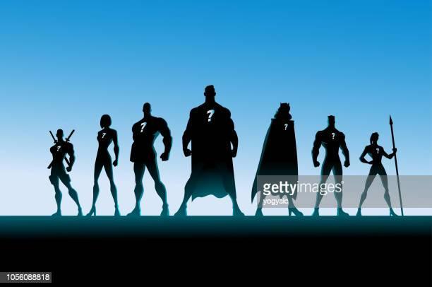 vector superhero team silhouette - back lit stock illustrations