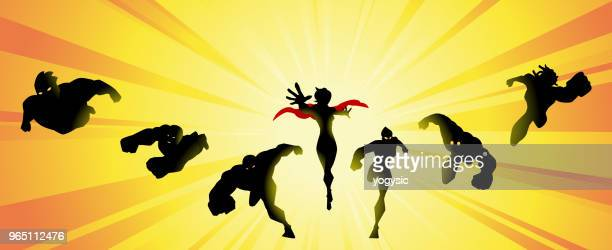 vector superhero team silhouette with sunburst - action movie stock illustrations