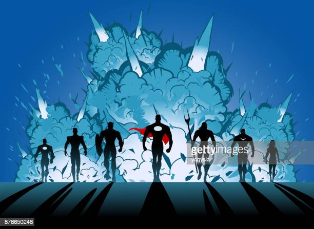 vector superhero team with male leader silhouette walking away from explosion - action movie stock illustrations