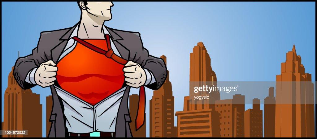 Vector Superhero Transformation Banner : stock illustration