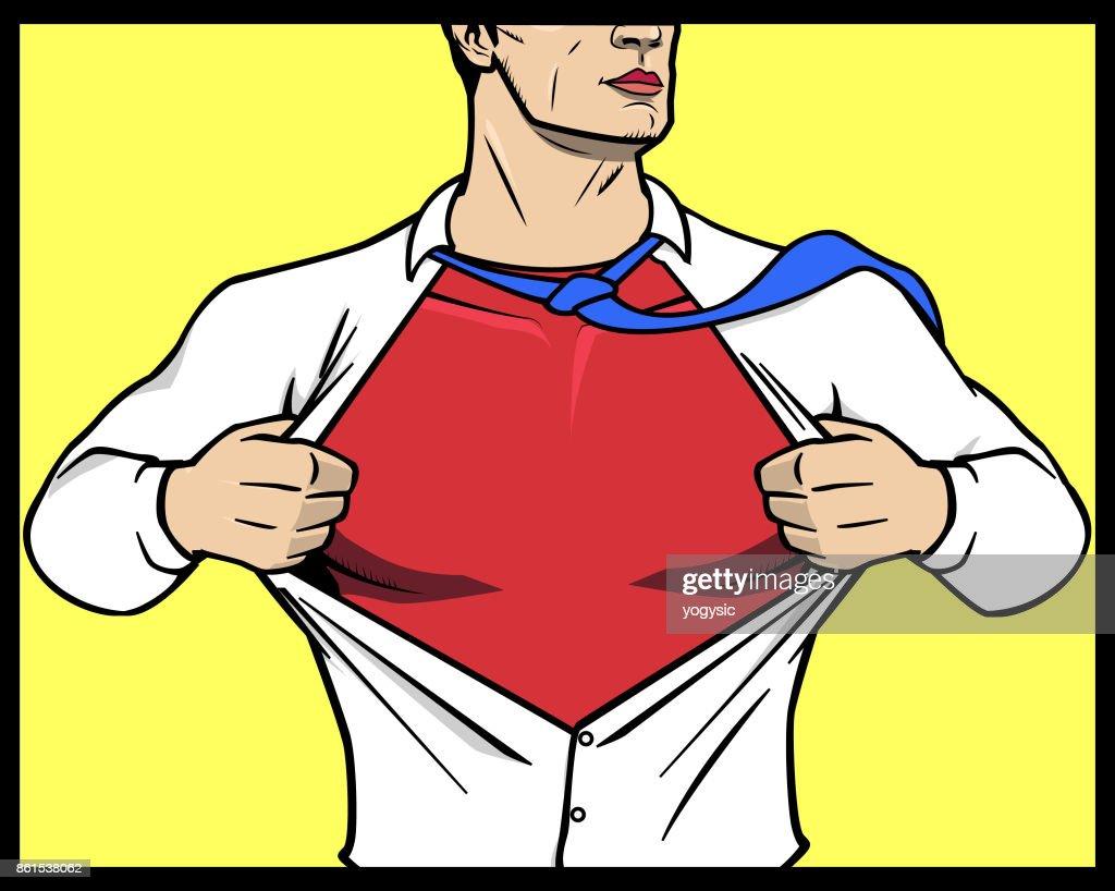 Vector Superhero Transformation Opening Shirt stock illustration