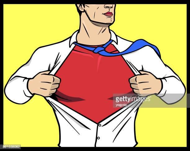 Vector Superhero Transformation Opening Shirt