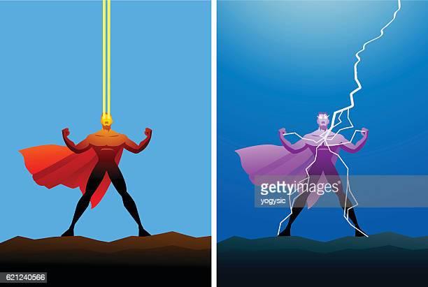 ilustraciones, imágenes clip art, dibujos animados e iconos de stock de vector superhero with heat vision and lightning power - fuerzas de la naturaleza