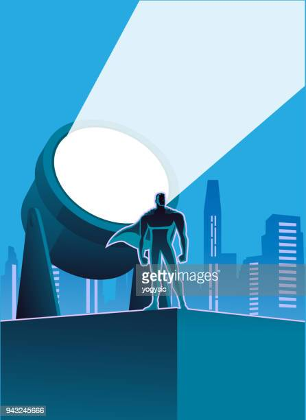 vector superhero with light signal and city skyline in the background - light natural phenomenon stock illustrations, clip art, cartoons, & icons