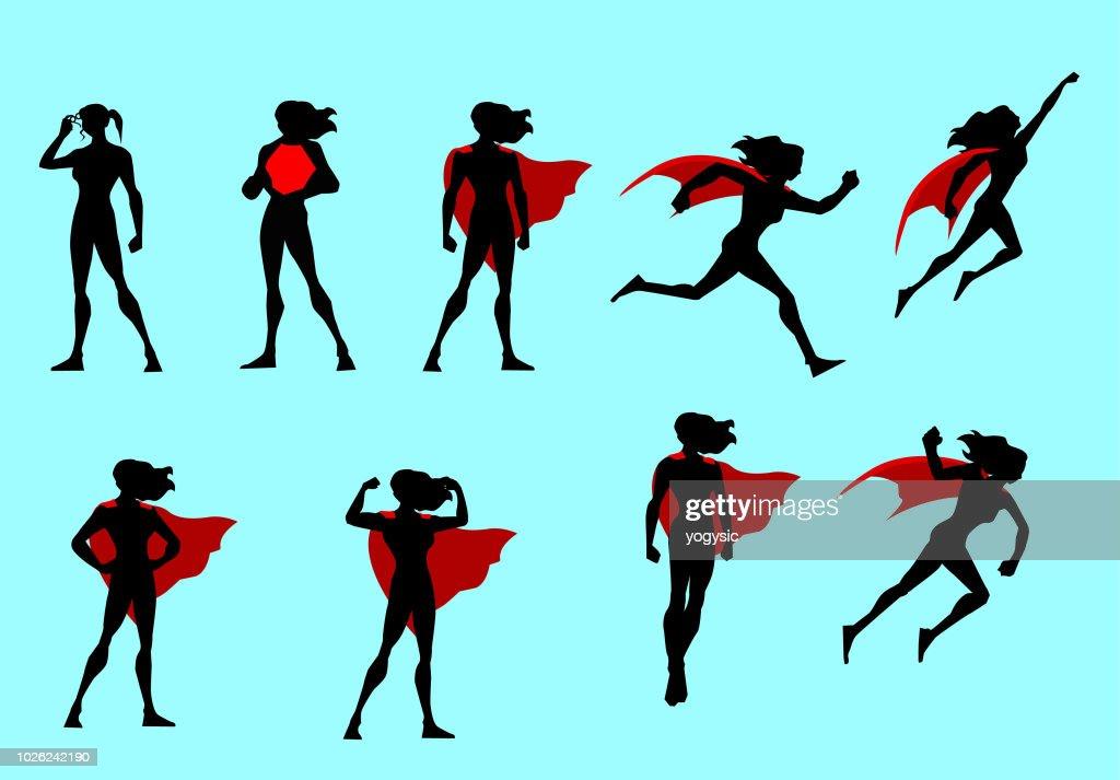 Vector Superhero Woman Silhouette Set : stock illustration