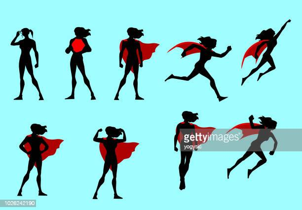 vector superhero woman silhouette set - heroes stock illustrations
