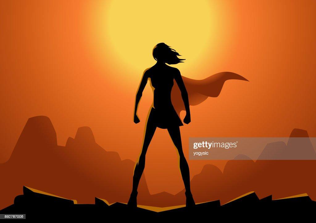 Vector silueta de mujer de superhéroe con sol de fondo : Ilustración de stock