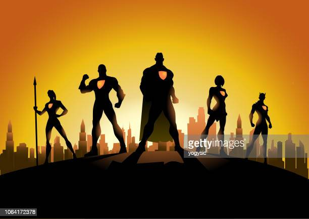 vector superheroes in the city silhouette - cape garment stock illustrations