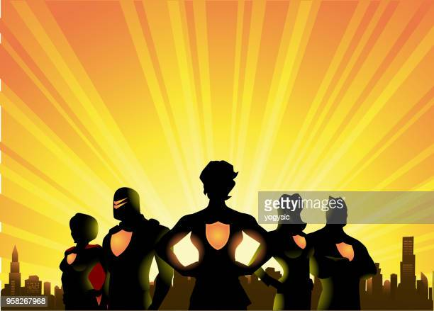 vector superheroes silhouette with city skyline and sunburst background - superhero stock illustrations