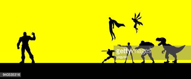 Vector Superheroes Team Face to Face Against a Super Villain Silhouette