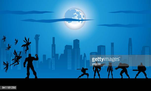 Vector Superheroes Team Fighting an Army Monster Silhouette