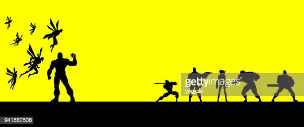 Vector Superheroes Team Fighting an Army of Monster Silhouette