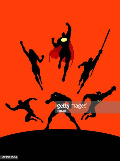 vector superheroes team in action silhouette - slim stock illustrations