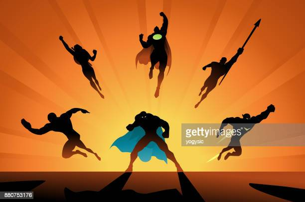 vector superheroes team in action silhouette - cape garment stock illustrations