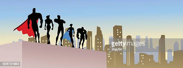 Vector Superheroes Team in The City