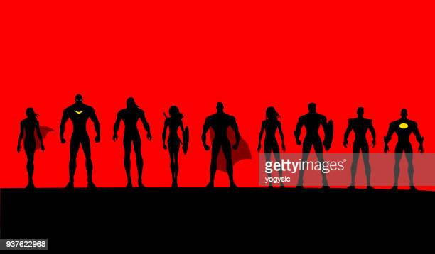 Vector Superheroes Team Set Silhouette