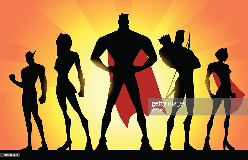 Vector Superheroes Team Silhouette