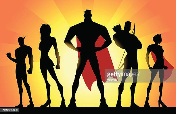 vector superheroes team silhouette - teamwork stock illustrations