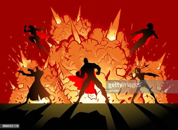 vector superheroes team with explosion - action movie stock illustrations