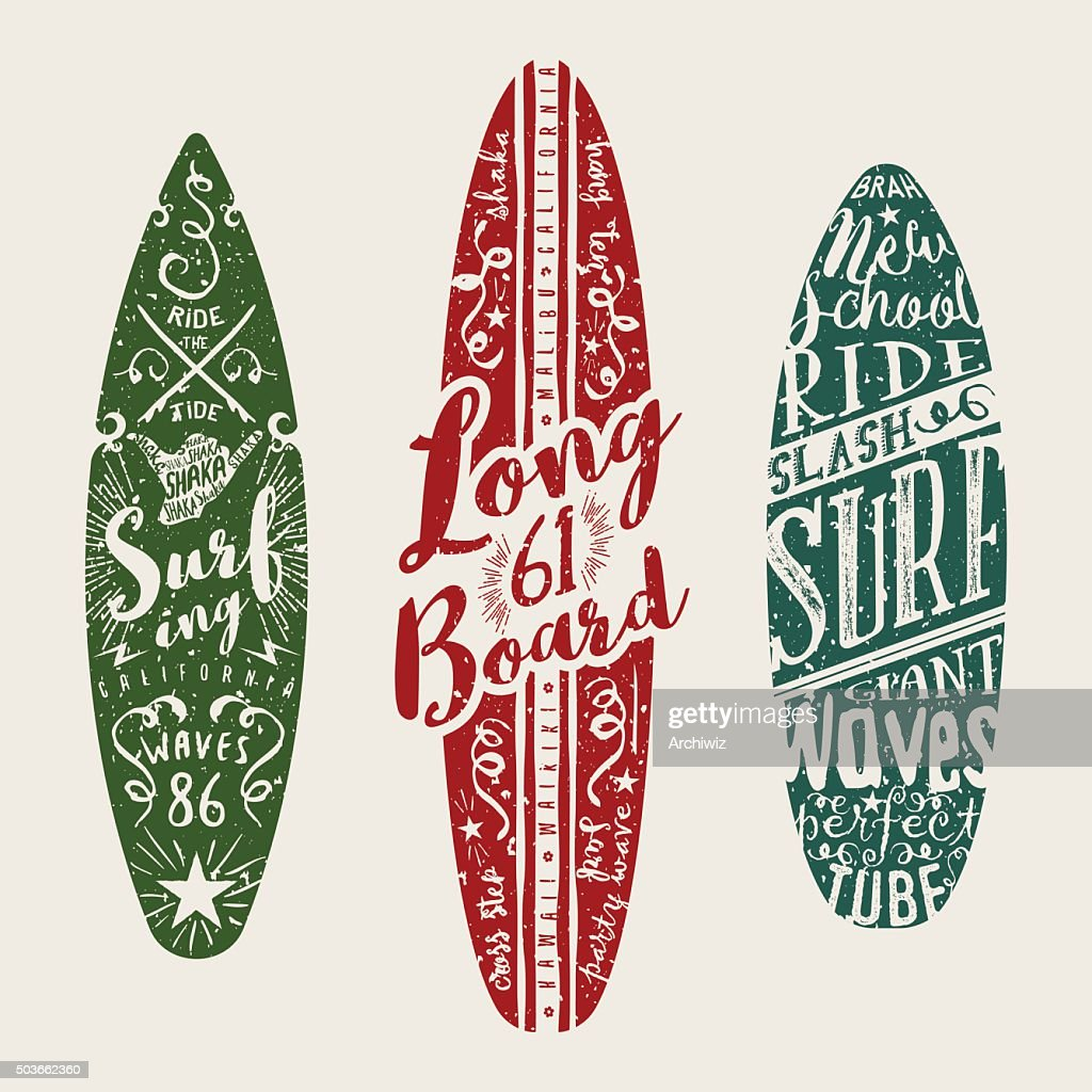Vector Surf Graphics. Typographic decorated surfboards.