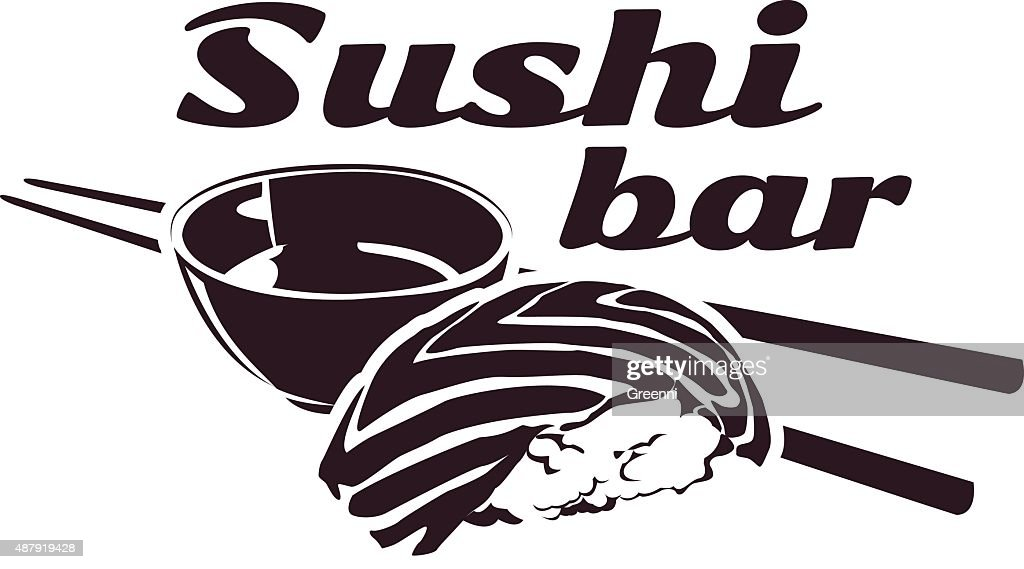 vector sushi bar logotype with salmon, soy sause
