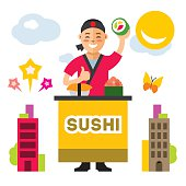 Vector Sushi Chef. Flat style colorful Cartoon illustration.