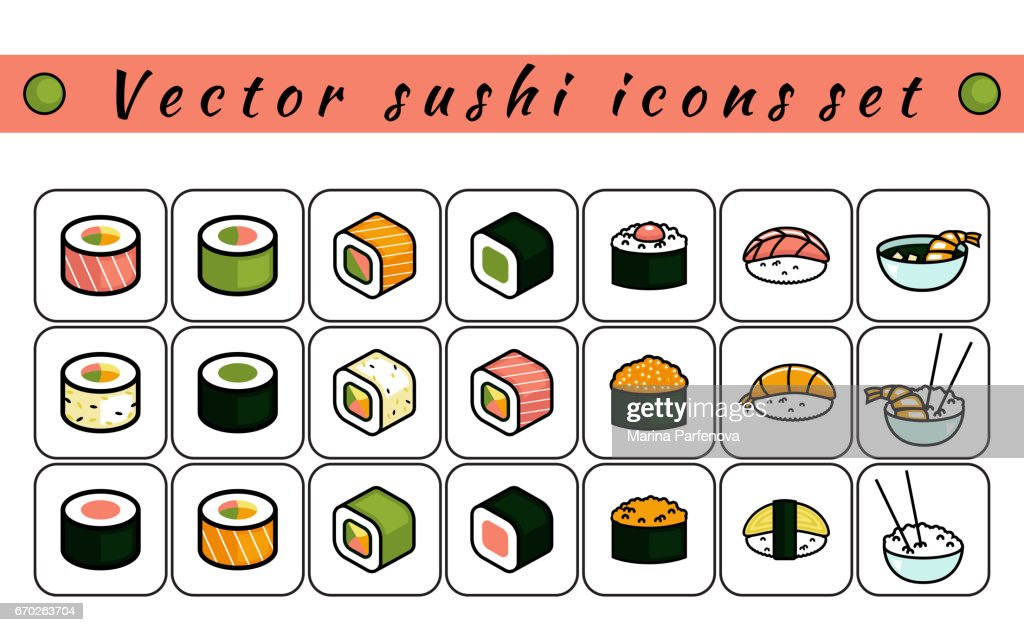 Vector sushi icons set