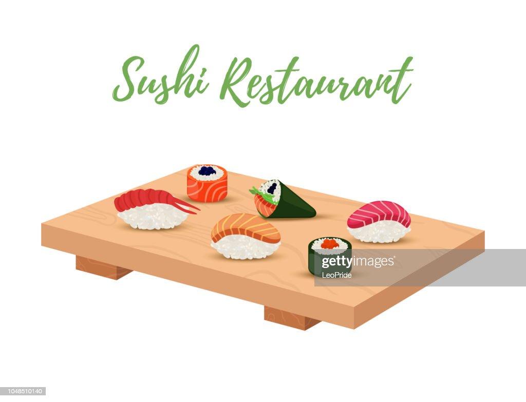 Vector sushi set on wooden tray for japanese restaurant