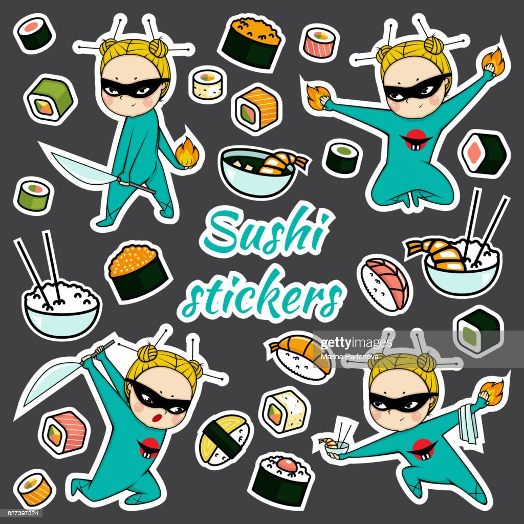 Vector sushi stickers pattern