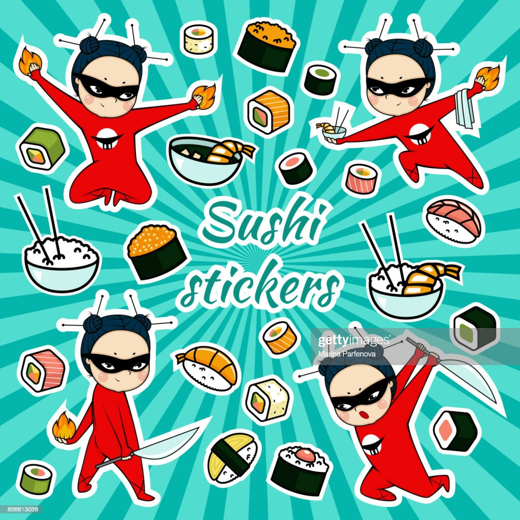 Vector sushi stickers