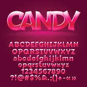 Vector sweet candy glossy letters, number, symbols