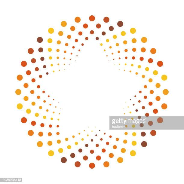 vector swirl pattern with dotted circular background - design element stock illustrations