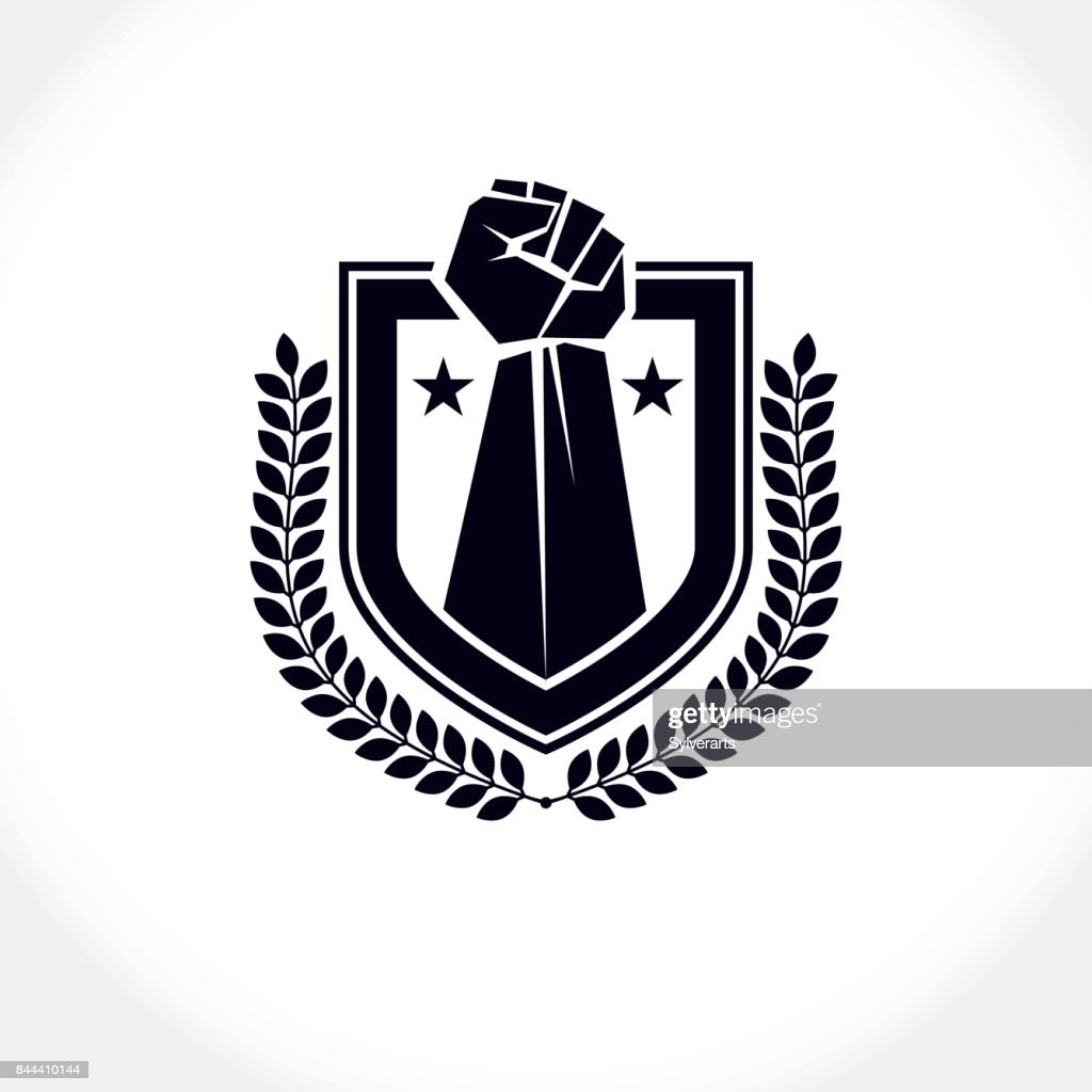 Vector symbol created using clenched fist of athletic strong man, protection shield, laurel wreath and different graphic elements. Fighter club concept.