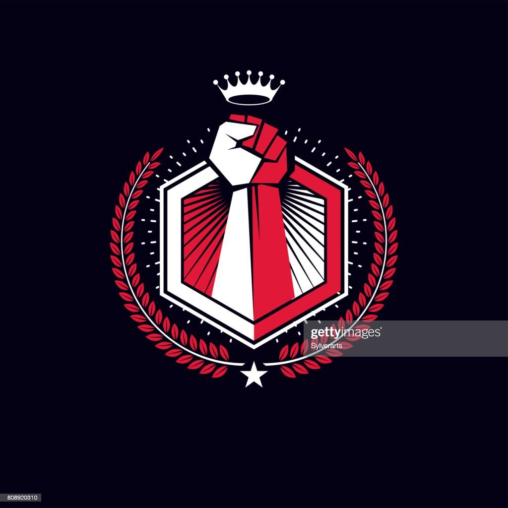 Vector symbol created using raised fist of a muscular man, laurel wreath and royal crown.  Fighter club conceptual icon.