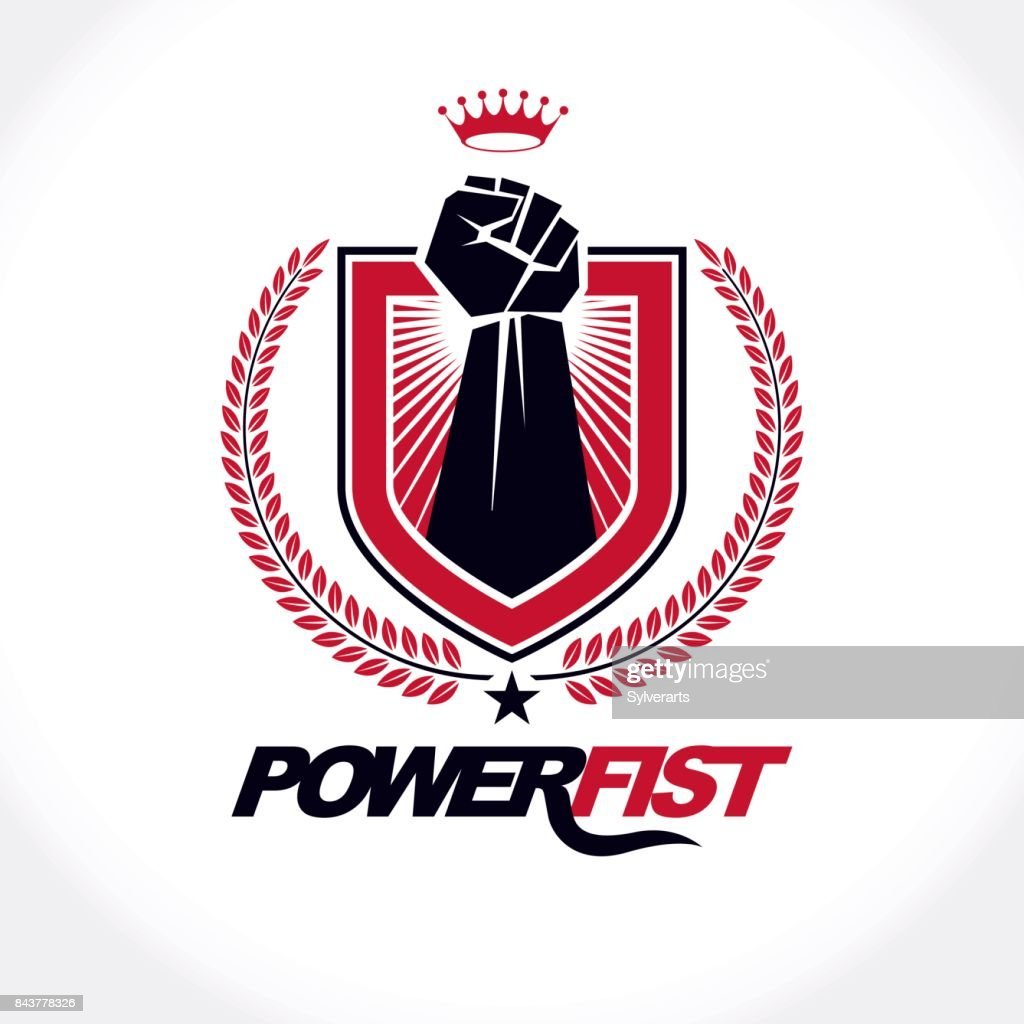 Vector symbol created using raised fist of a muscular man, laurel wreath and royal crown.  Fighter club concept.