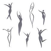 Vector symbol design elements. Young girl set