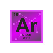 Vector symbol of Argon on the background from connected molecules