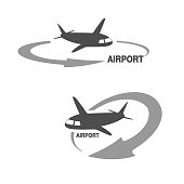Vector symbol of arrow with flying airplane - icon, symbol for airport