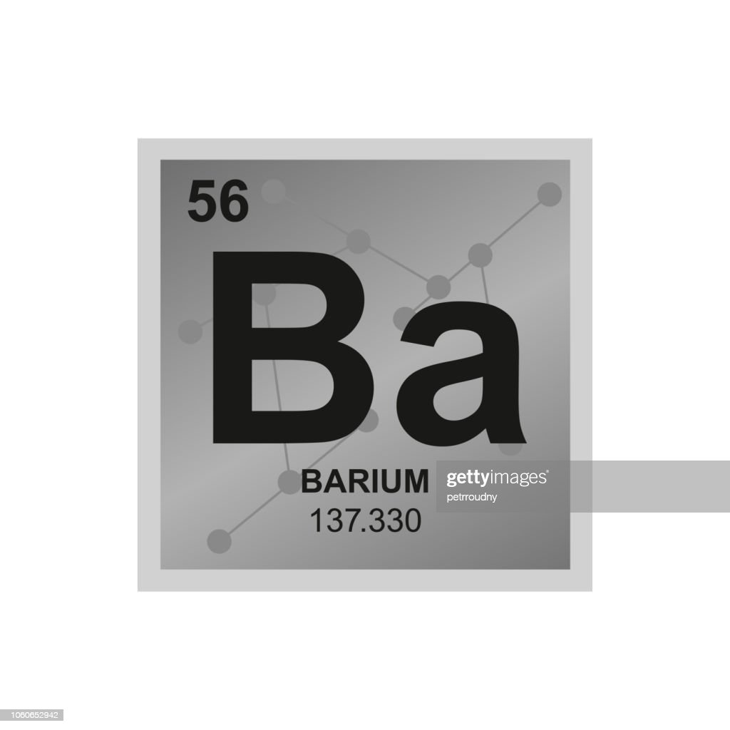 Vector symbol of barium on the background from connected molecules
