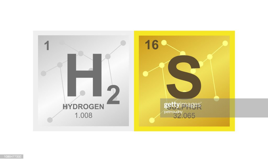 Vector symbol of hydrogen sulfide or sulphuretted which consists from from hydrogen and sulphur on the background from connected molecules