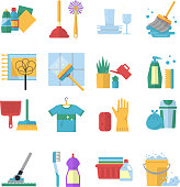 Vector symbols of cleaning services in cartoon style. Brush, dust and bucket