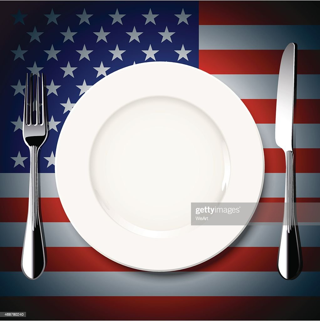 Vector table setting on America flag background